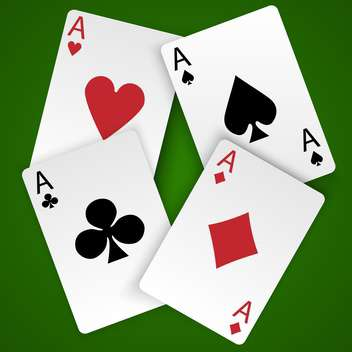 Four vector card aces with different suits on green background - vector gratuit #129764