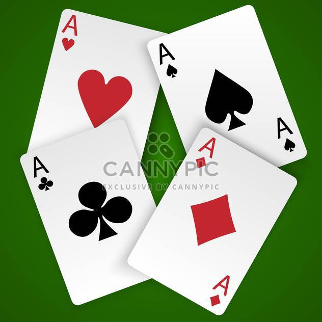 Four vector card aces with different suits on green background - Free vector #129764