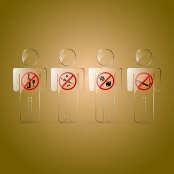 Vector set of prohibited signs on brown background - vector #129784 gratis