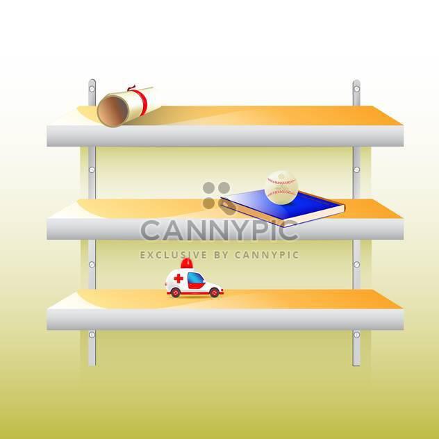 Vektor stilvolle moderne Regal mit verschiedenen Sachen an Wand - Kostenloses vector #129804