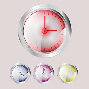 Set of vector colorful clocks with different time on pink background - vector #129814 gratis