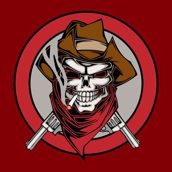 Vector illustration cowboy skull in hat with two revolvers in circle on red background - бесплатный vector #129874