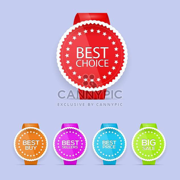 Vector set of colorful best choice labels - Free vector #129924