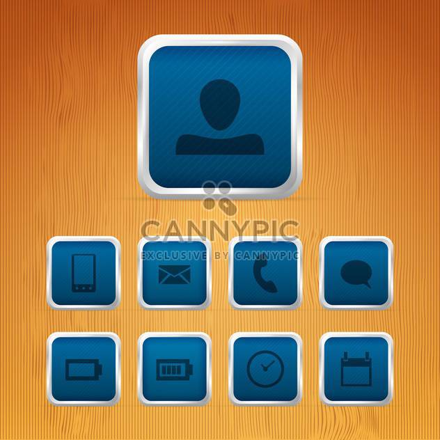 Basic web icons on square buttons - Free vector #129934