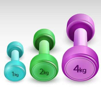 Vector illustration of dumbbells colored dumbbells isolated - Free vector #129974