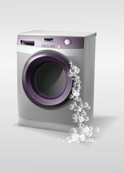 Vector illustration of washing machine with bubbles - vector gratuit #129994