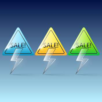 Vector colorful glass lightning sale banners on blue background - vector gratuit(e) #130024