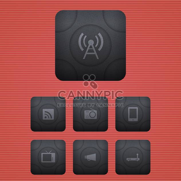 Vector communication icons set on red background - Free vector #130154