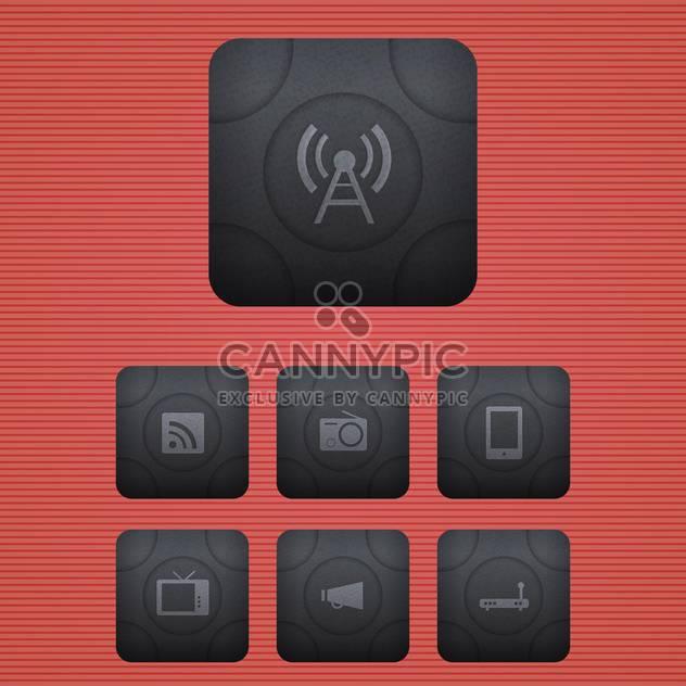 Vektor-Icons für Kommunikation setzen auf rotem Hintergrund - Kostenloses vector #130154