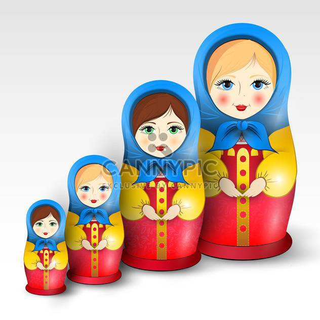 Vector illustration of traditional matryoshka dolls - Free vector #130234