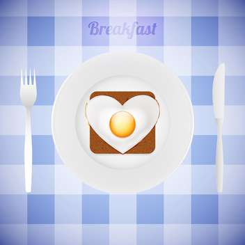 breakfast tableware with heart shaped fried egg - vector gratuit #130294