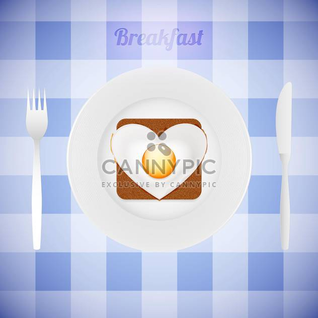 breakfast tableware with heart shaped fried egg - Free vector #130294