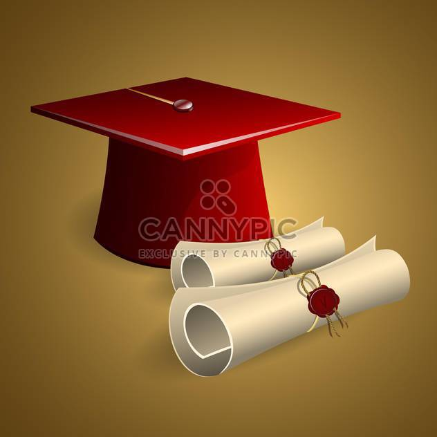 Graduation cap and diplomas vector illustration - Free vector #130394