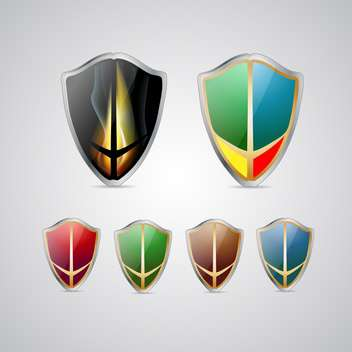 Set with vector multicolored shields - vector gratuit #130464