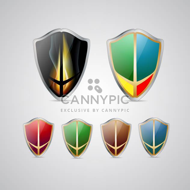Set with vector multicolored shields - Free vector #130464