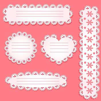 Vector set of paper laces frames on pink background - vector gratuit #130534