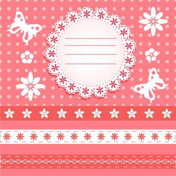Greeting Card with butterflies and floral pattern - Free vector #130574