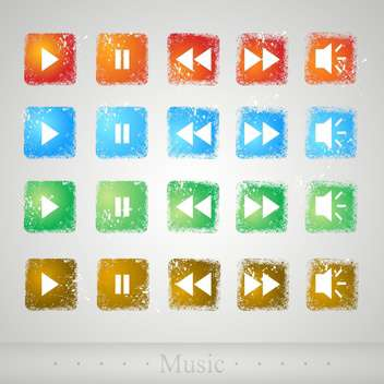 Multimedia colorful buttons on grey background - Kostenloses vector #130594