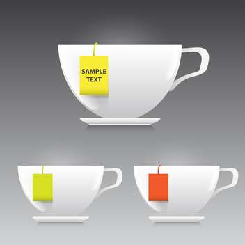 vector illustration of three cups of tea on grey background - vector gratuit #130604