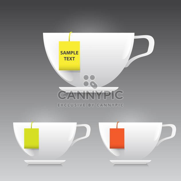 vector illustration of three cups of tea on grey background - Free vector #130604