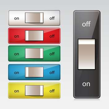 vector set of colorful switches in on and off positions on grey background - Free vector #130614