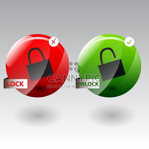 Vektor-Illustration Sicherheitskonzeptes mit gesperrt und entsperrt Pad-lock - Free vector #130624