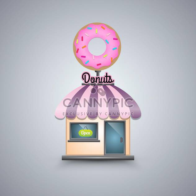 Vector illustration of donut shop on grey background - Free vector #130694