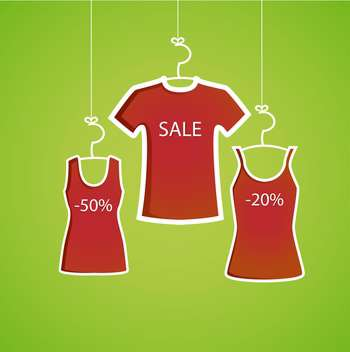 colorful illustration in red and green colors with shirts and text sale - vector gratuit #130704