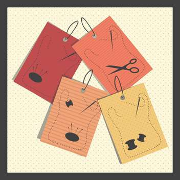 vector illustration of paper sewing colorful tags - vector gratuit #130724