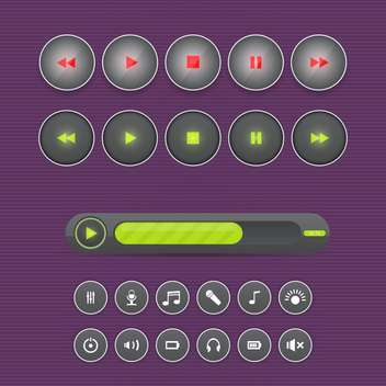 Vector set of media buttons on purple background - Free vector #130734