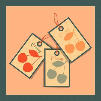 paper tags with cherry on colorful background - vector gratuit(e) #130744
