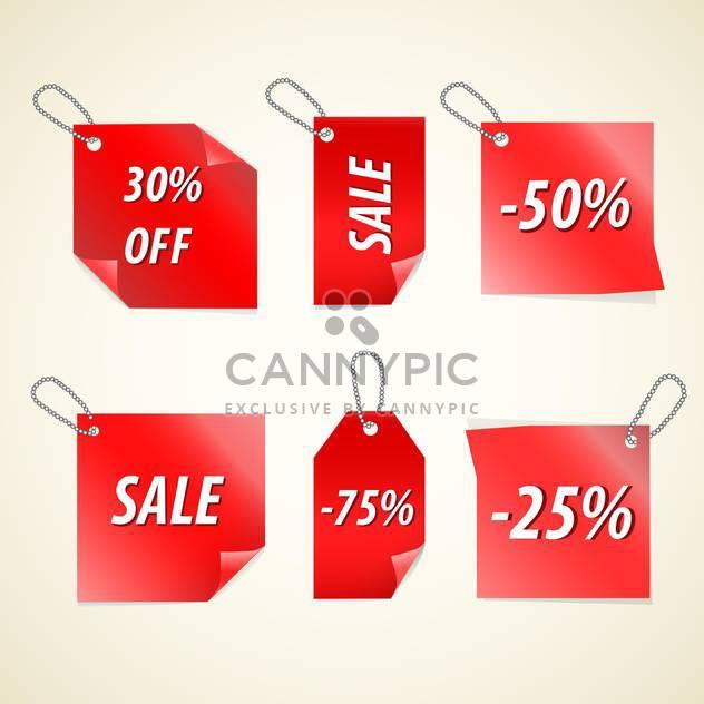 Vektor rot Verkauf tags auf weißem Hintergrund - Free vector #130754