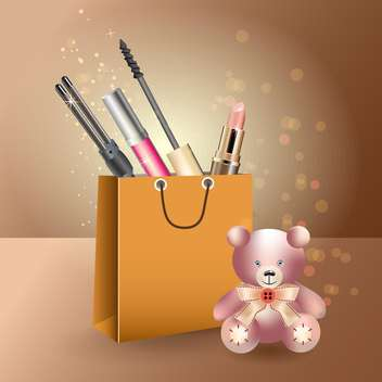 fashion female things in shopping bag and teddy bear - Free vector #130764