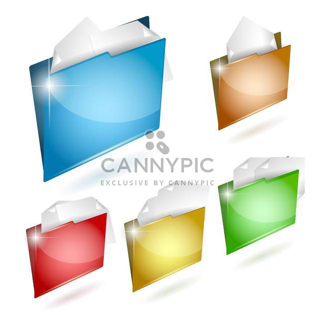 vector illustration of colorful business folders icon set - Free vector #130774
