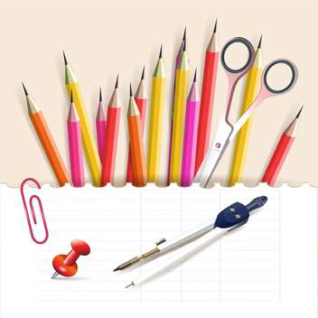 vector illustration of colorful school objects stationery objects - vector gratuit #130784