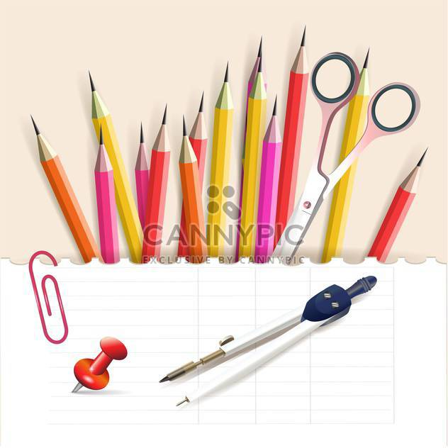 vector illustration of colorful school objects stationery objects - Free vector #130784