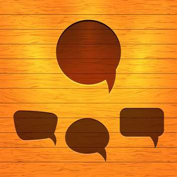Vector set of speech bubbles on wooden background - vector #130844 gratis