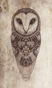 Owl vector illustration on a gray background - vector gratuit #130864