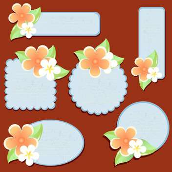 Greeting cards with flowers vector illustration - Free vector #130884