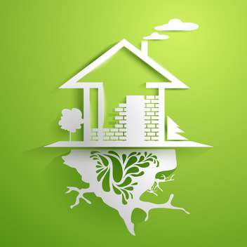 Silver house in green display - vector #130954 gratis