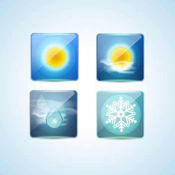 Weather icons over blue background vector illustration - Free vector #131094