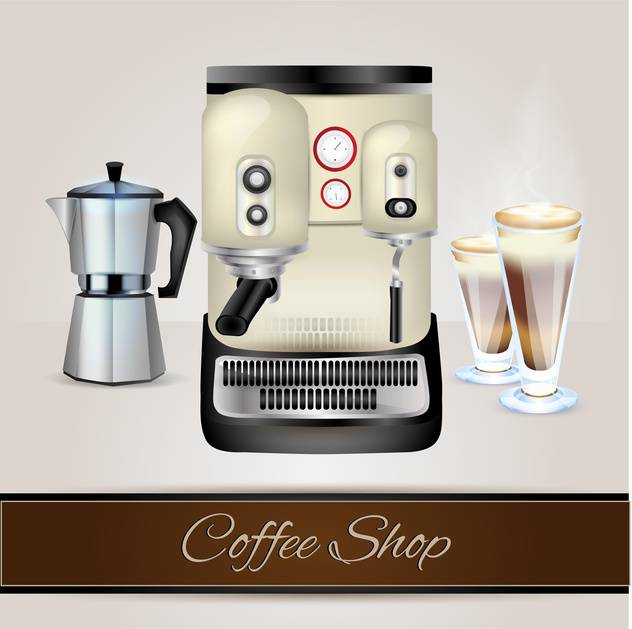 Vector collection of coffee-related objects - vector gratuit(e) #131104