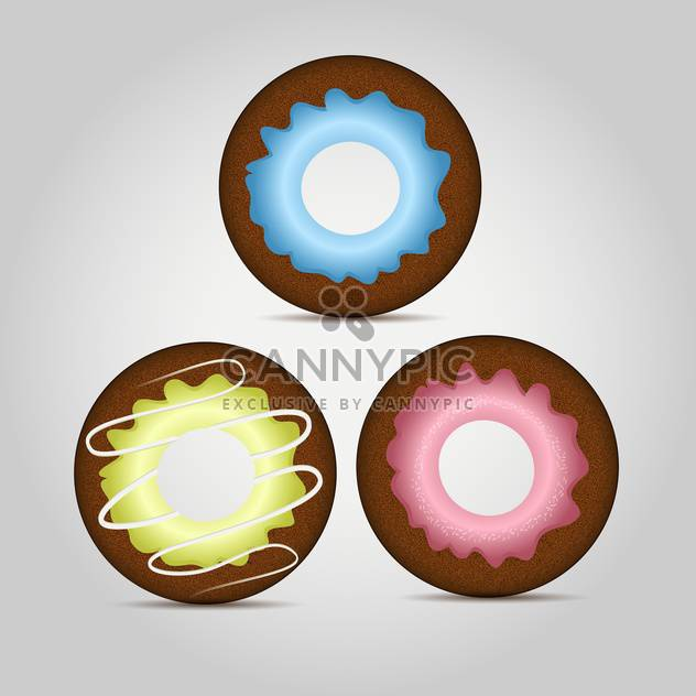 Colorful donuts vector set on grey background - Free vector #131124