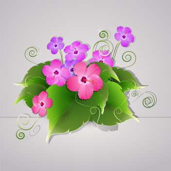 Vector flowers illustration on grey background - vector gratuit(e) #131144