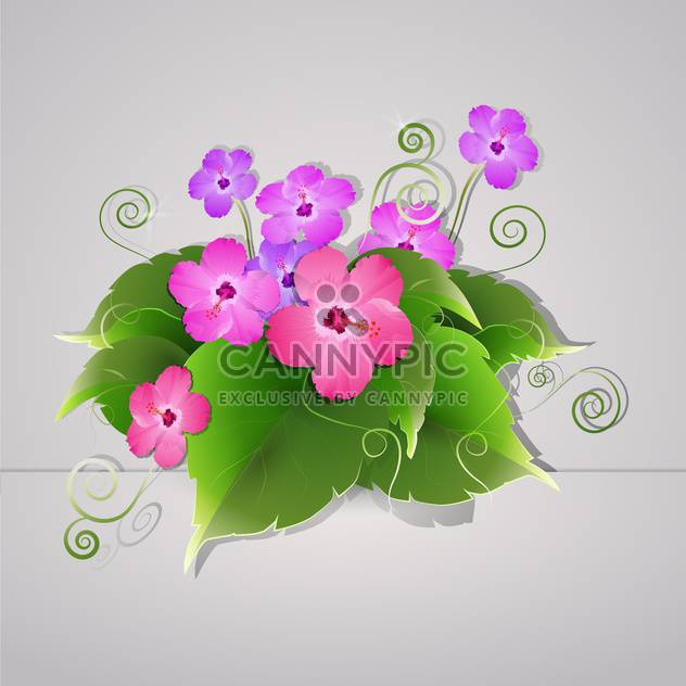 Vector flowers illustration on grey background - Free vector #131144