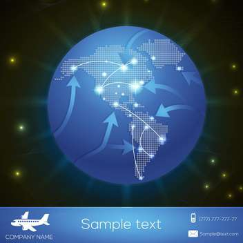 Vector airplane flight paths over earth globe - vector gratuit #131194