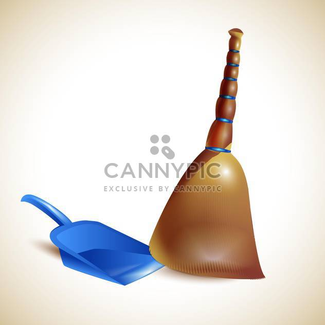 Broom and dustpan vector illustration - Free vector #131324