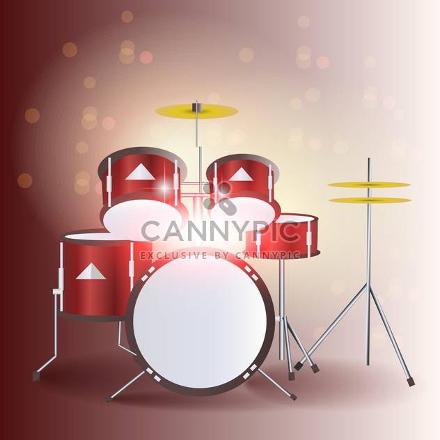 Red drum kit vector illustration - Free vector #131354