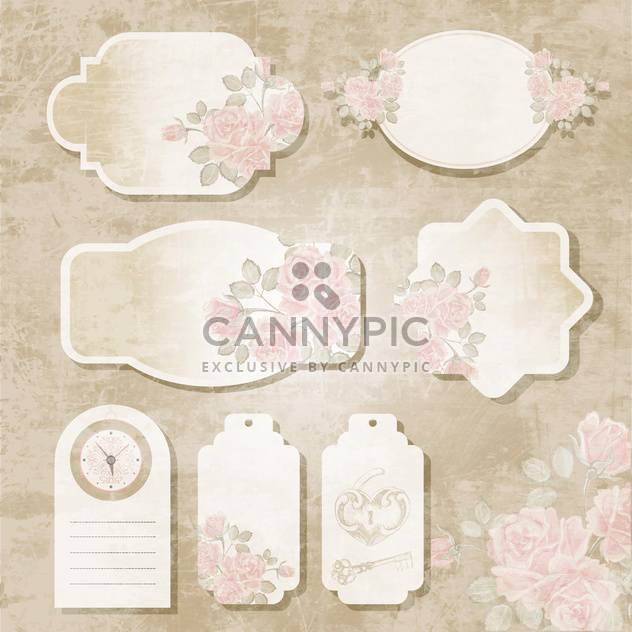 Collection of floral retro grunge labels, banners and emblems - Free vector #131364
