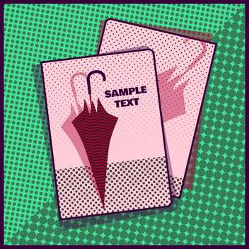 Card with umbrella in pop art style on green background - vector gratuit #131444